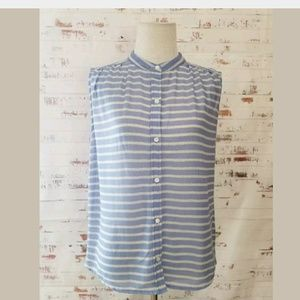 J. Crew Stripe Sleeveless Top Size 2 Blue White